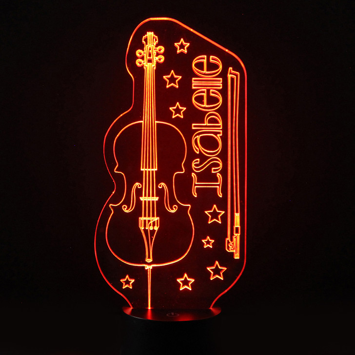 Personalised Cello Night Light, Colour Changing Instrument Lamp For Kids Bedroom