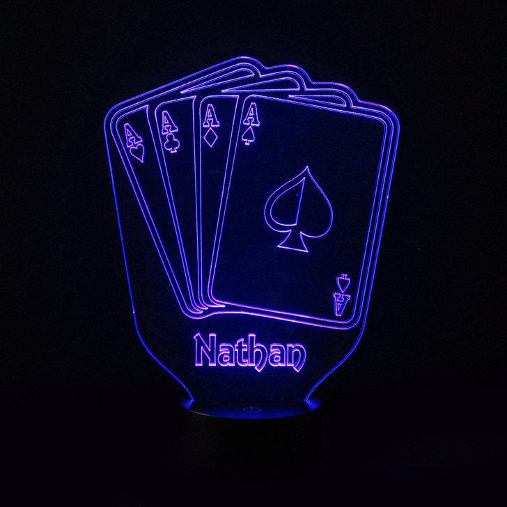Personalised Playing Cards Night Light, Colour Changing Card Deck Lamp For Kids Bedroom
