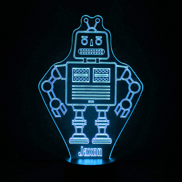 Personalised Retro Robot Night Light, Colour Changing Robot Lamp For Kids Bedroom