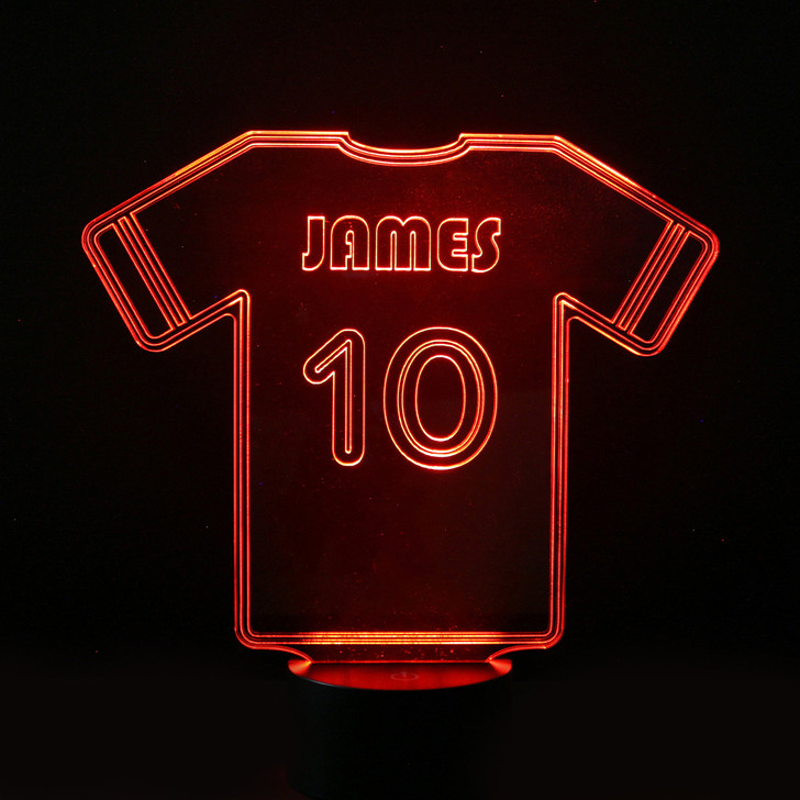 Personalised Football Shirt Night Light, Colour Changing Football Lamp For Kids Bedroom