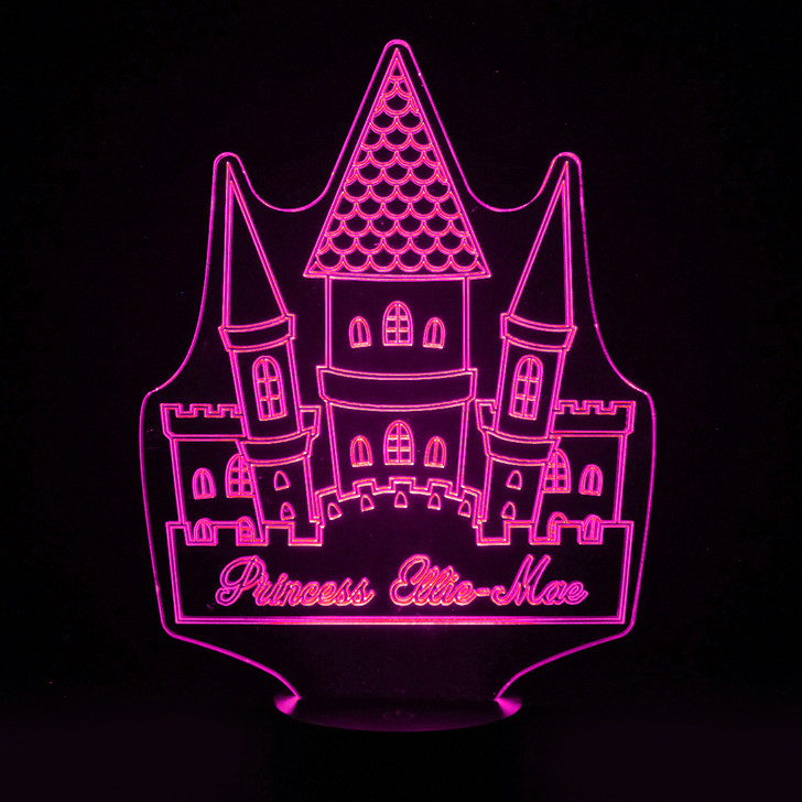 Personalised Fairy Tale Castle Night Light, Colour Changing Girls Lamp For Kids Bedroom