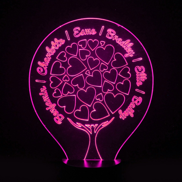Family Tree Light Up Lamp with Hearts, Personalise with Up To 8 Names - 16 Colour Options