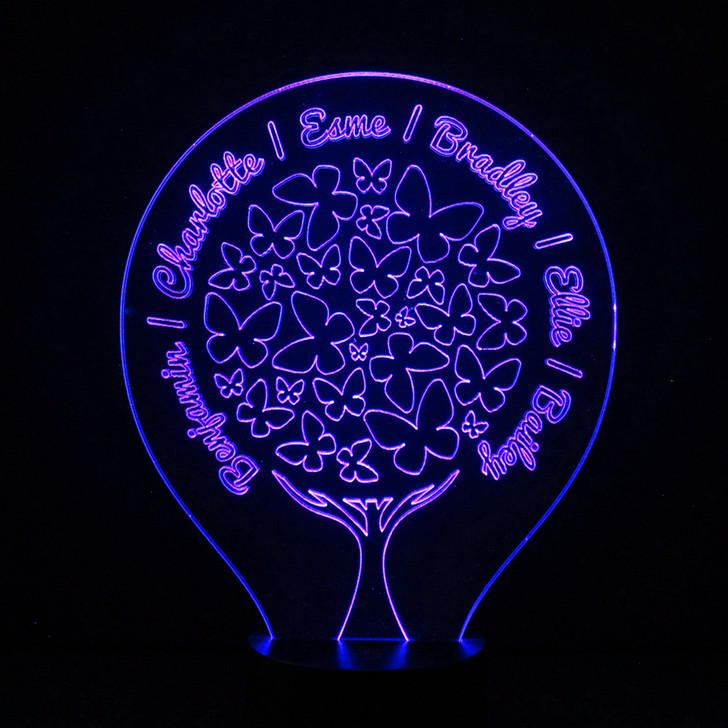 Family Tree Butterflies Personalised LED Night Light