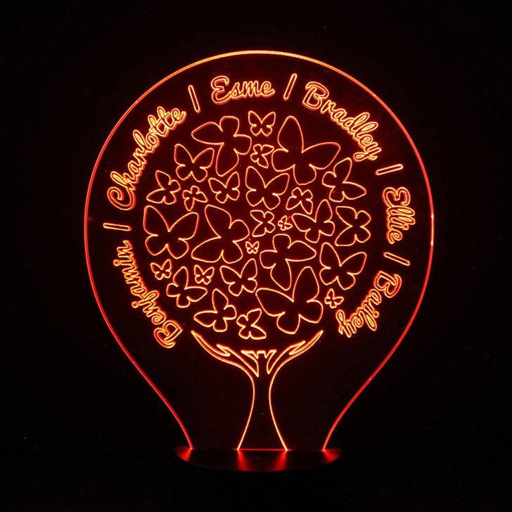 Family Tree Light Up Lamp with Butterflies, Personalise with Up To 8 Names - 16 Colour Options