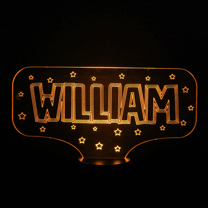 Personalised Name With Stars Night Light, Colour Changing Lamp For Kids Bedroom