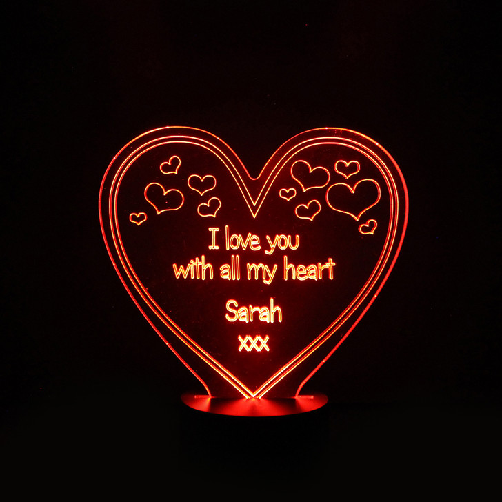 Personalised Heart With Message Night Light, Colour Changing Girls Lamp For Kids Bedroom