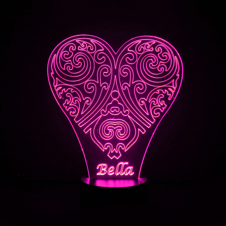 Personalised Decorative Heart Girls Night Light, Colour Changing Lamp For Kids Bedroom