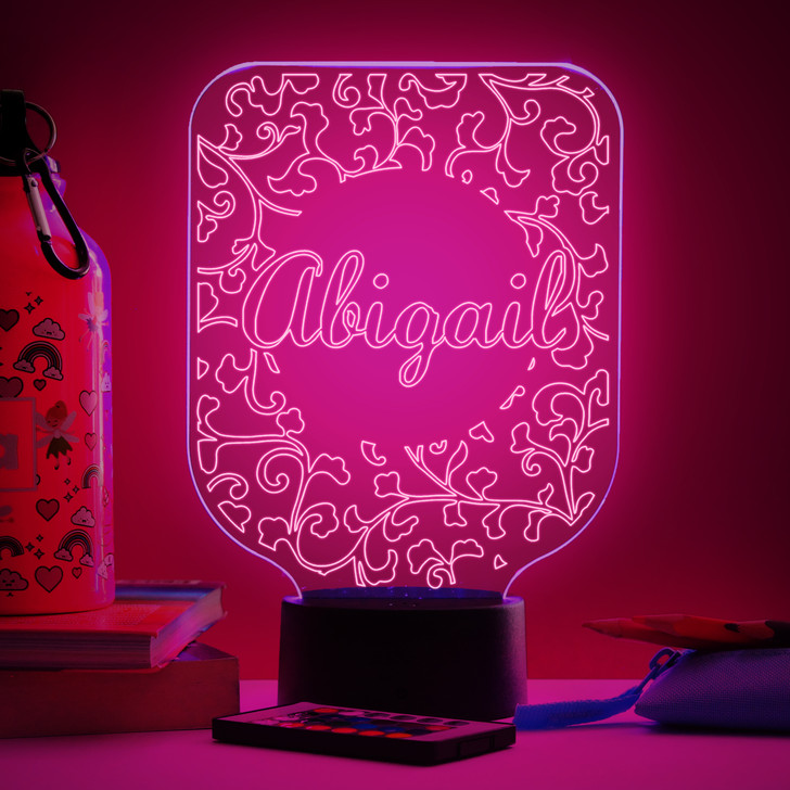Personalised Damask Pattern Girls Night Light, Colour Changing Lamp For Kids Bedroom