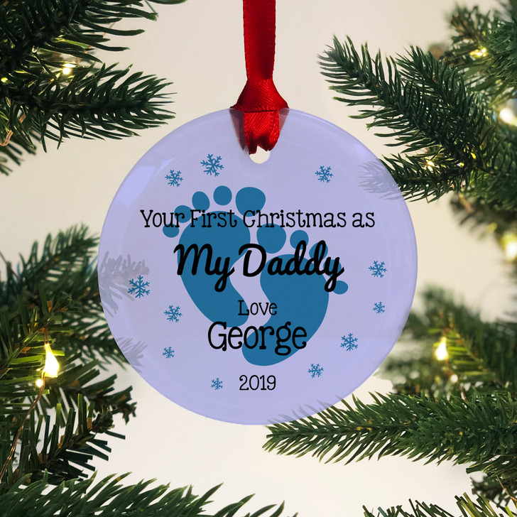 Personalised First Christmas As My Daddy Glass Bauble 1st Xmas Keepsake Gift