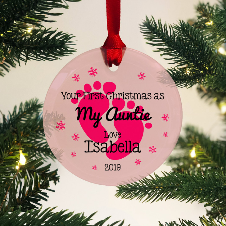 Personalised First Christmas As My Auntie Glass Bauble 1st Xmas Keepsake Gift