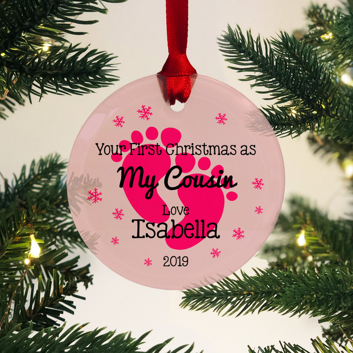Personalised First Christmas As My Cousin Glass Bauble 1st Xmas Keepsake Gift