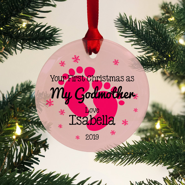 Personalised First Christmas As My Godmother Glass Bauble 1st Xmas Keepsake Gift