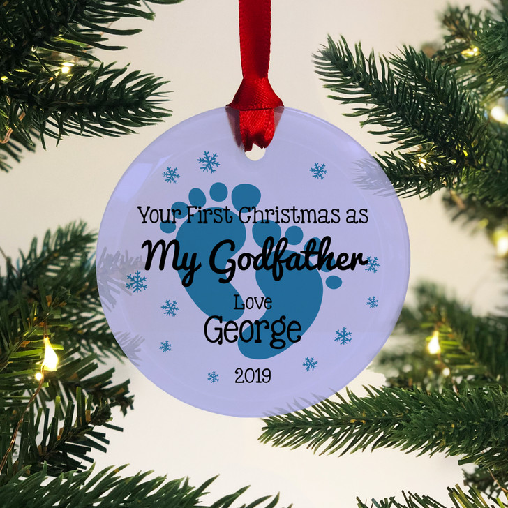 Personalised First Christmas As My Godfather Glass Bauble 1st Xmas Keepsake Gift
