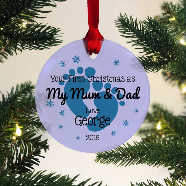 Personalised First Christmas As My Mum & Dad Glass Bauble 1st Xmas Keepsake Gift