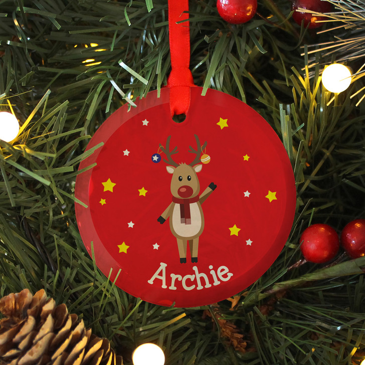 Personalised Reindeer Glass Christmas Keepsake Bauble