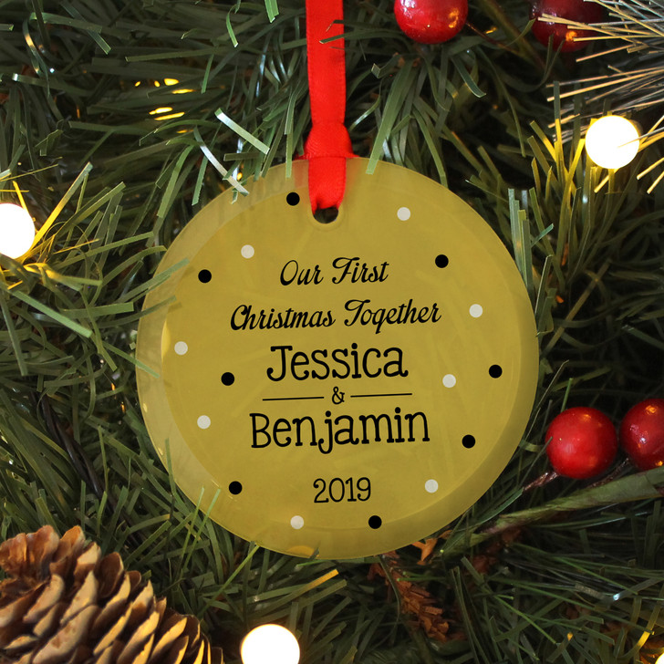 Personalised Couples First Christmas Together Glass Xmas Decoration