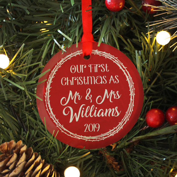 Personalised 1st Christmas As Mr & Mrs, Glass Bauble Xmas Decoration