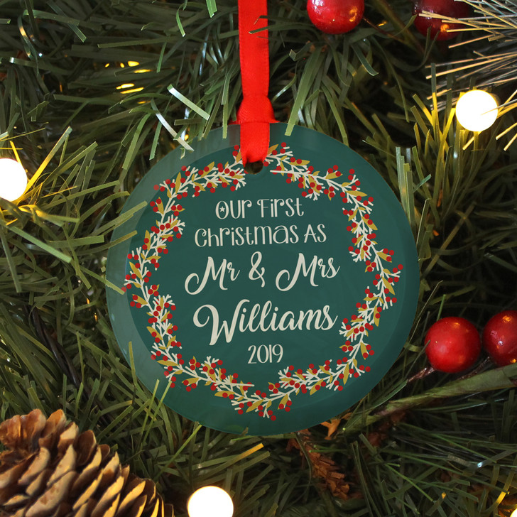 Personalised First Christmas As Mr & Mrs, Glass Bauble Xmas Decoration