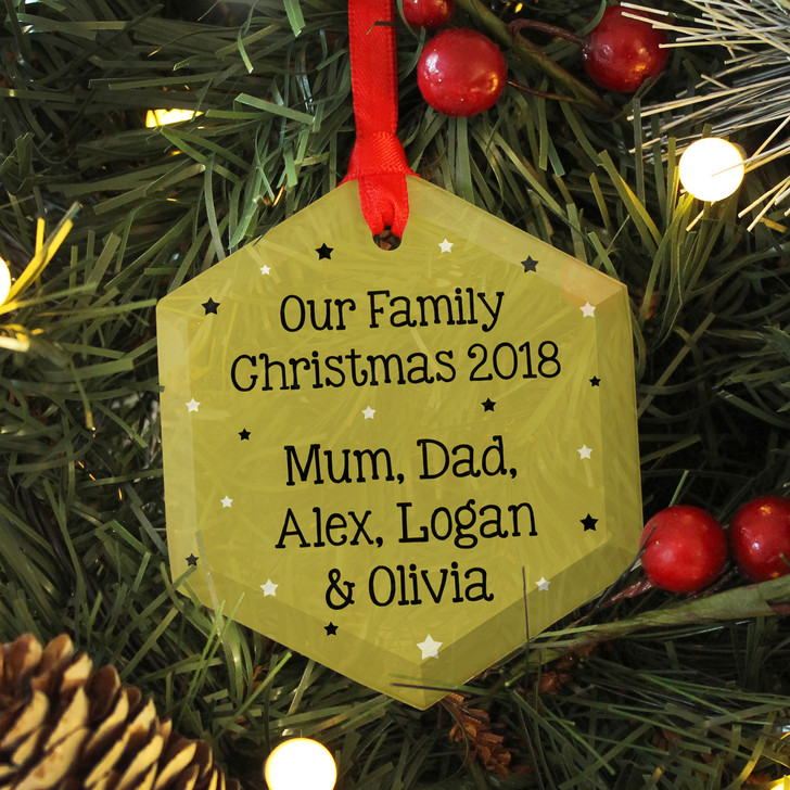 Personalised Our Family Christmas Tree Glass Bauble Decoration