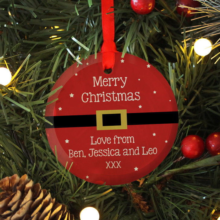 Personalised Message Glass Christmas Bauble with Santa's Belt Design