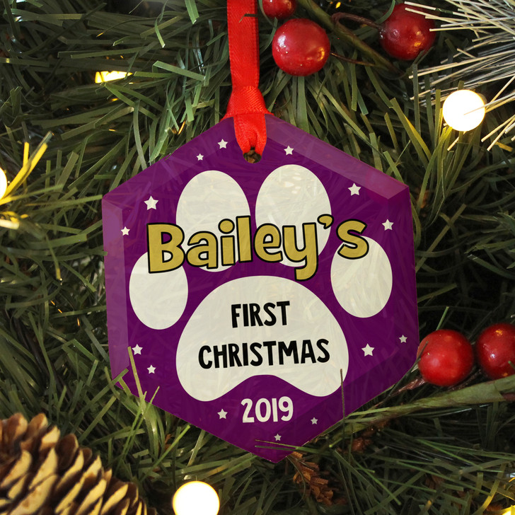 Personalised First Christmas Glass Tree Bauble For New Puppy Or Kitten
