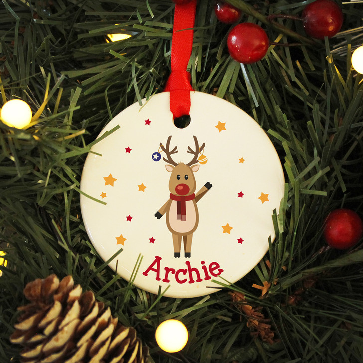 Personalised Reindeer Christmas Decoration Ceramic Bauble