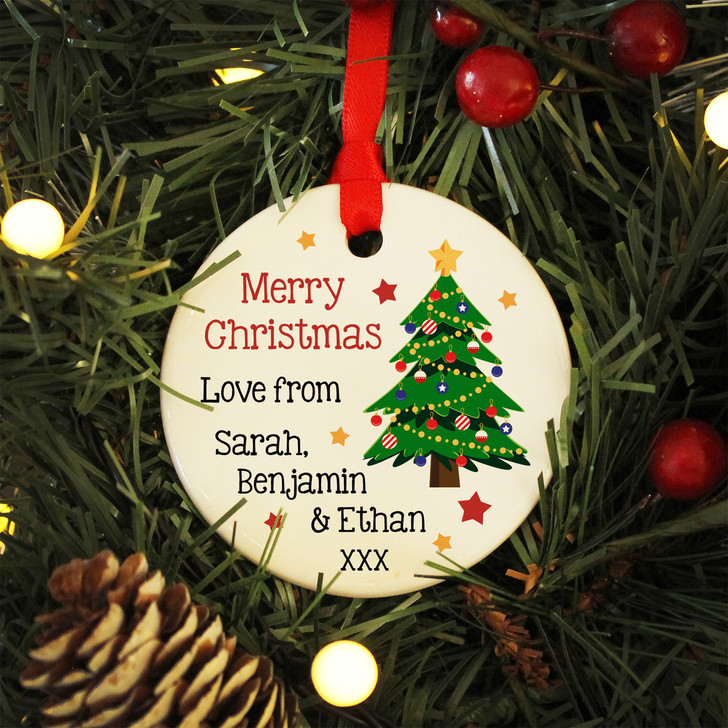 Merry Christmas From... Personalised Ceramic Christmas Bauble