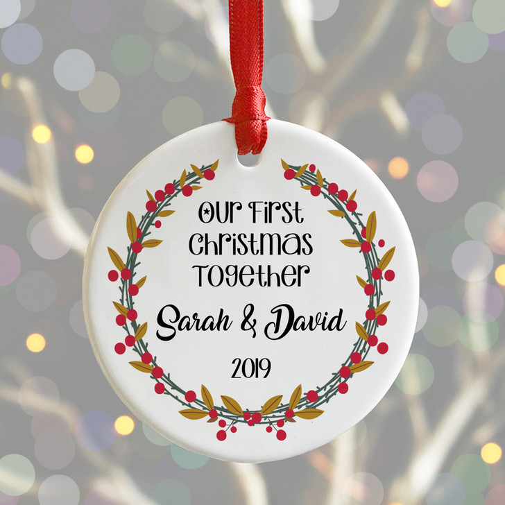 Personalised First Christmas Together, Couples Ceramic Xmas Bauble