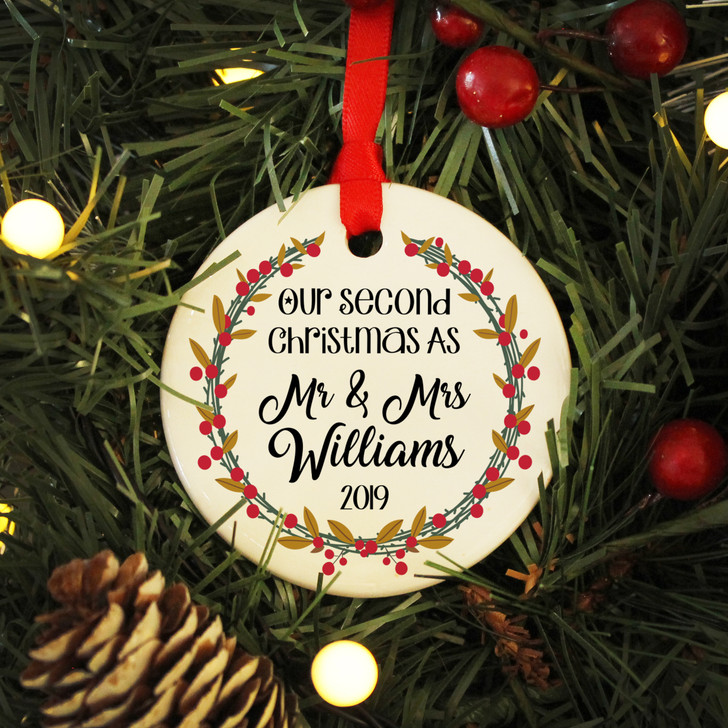 Personalised Second Christmas As Mr & Mrs, Ceramic Xmas Bauble