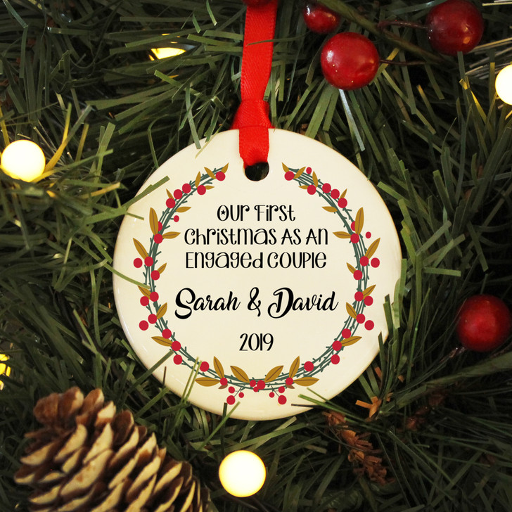 Personalised Couples First Christmas Engaged Ceramic 1st Xmas Keepsake Bauble