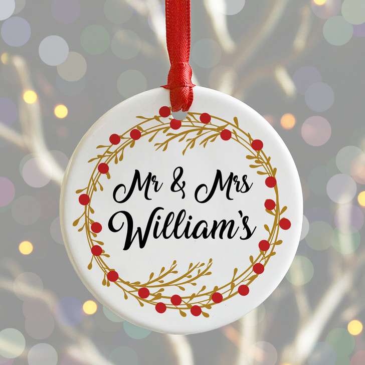 Personalised Mr & Mrs Ceramic Bauble Christmas Decoration