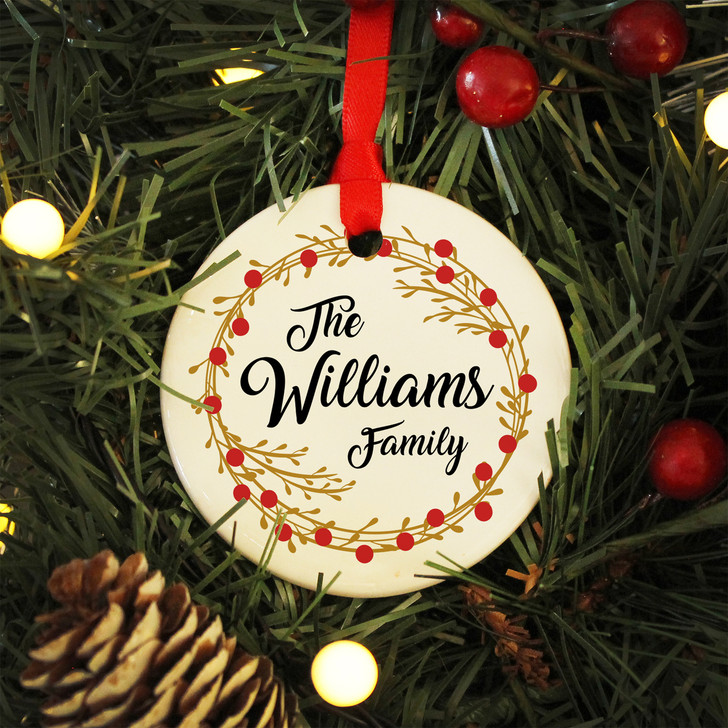 Personalised Family Surname Ceramic Bauble Christmas Decoration