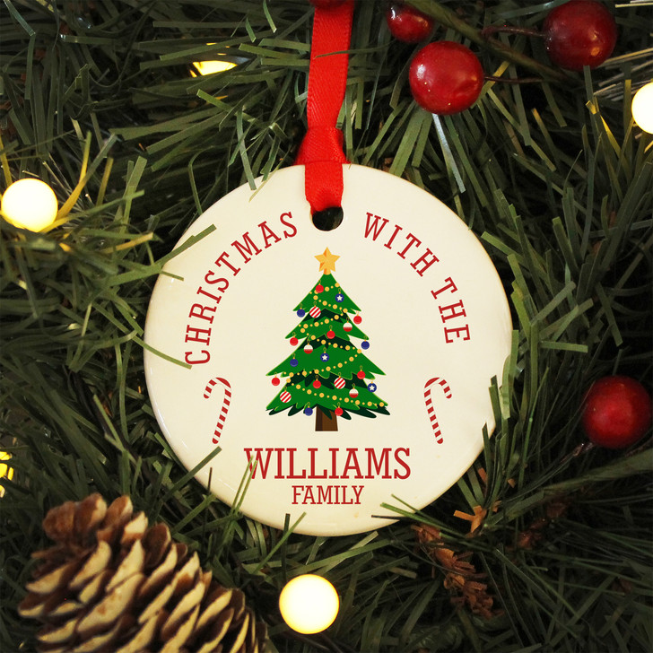 Personalised Christmas With The SURNAME Family - Ceramic Bauble