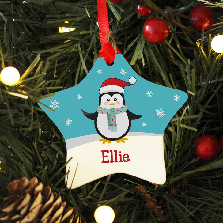 Personalised Name Penguin Ceramic Star Christmas Decoration For Kids
