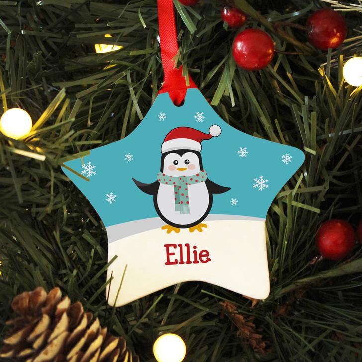 Personalised Name Penguin Ceramic Star Christmas Decoration For Kids