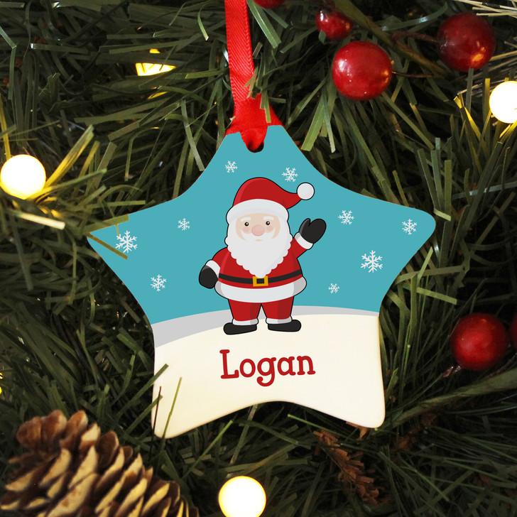 Personalised Name Santa Claus Ceramic Star Christmas Decoration For Kids
