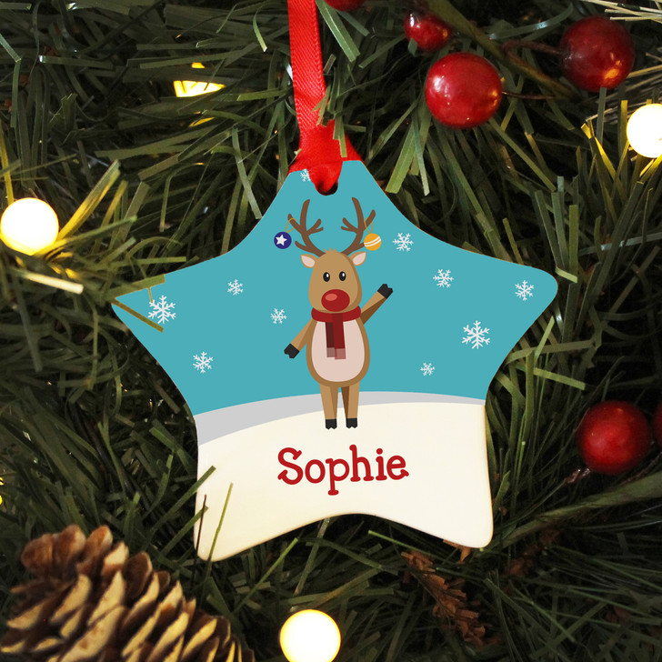 Personalised Name Reindeer Ceramic Star Christmas Decoration For Kids