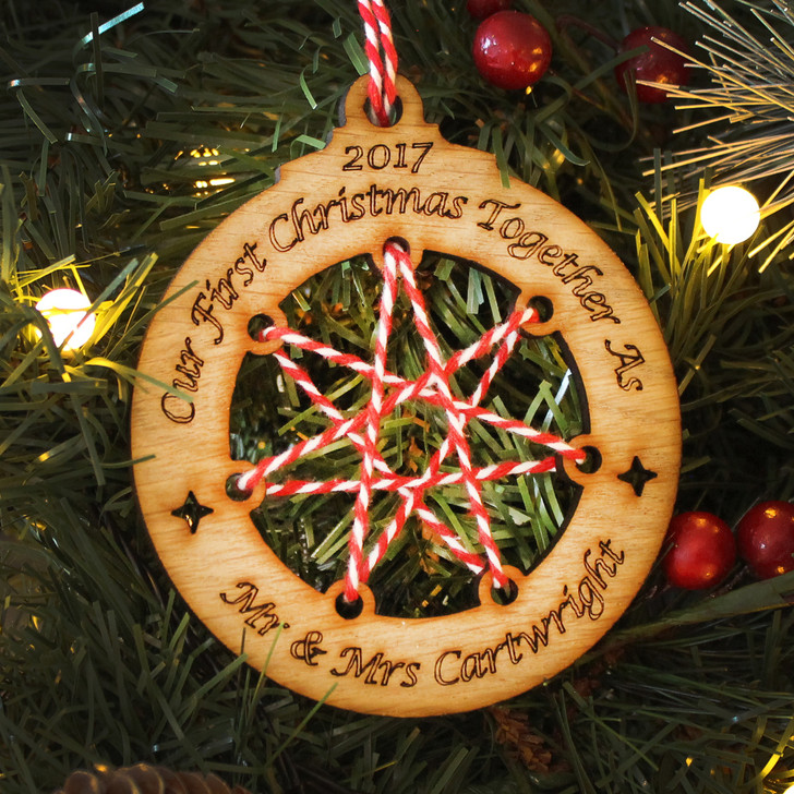 Personalised FIRST CHRISTMAS as Mr & Mrs Christmas Decoration, String Star Wooden Xmas Bauble, 1st Christmas as Mr and Mrs, Newly Married