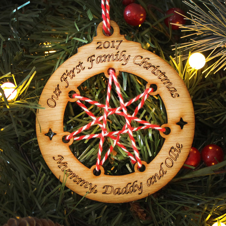 Wooden Christmas Decorations.Personalised First Family Christmas Bauble Wooden Decoration Gift