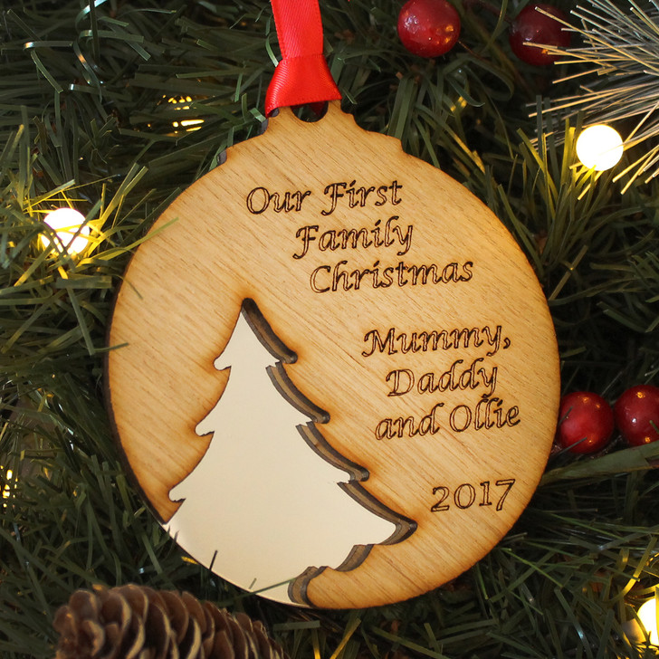 Personalised Our FIRST FAMILY CHRISTMAS, Xmas Tree Silhouette Decoration, 1st Family Christmas Bauble, New Baby 1st Christmas Gift