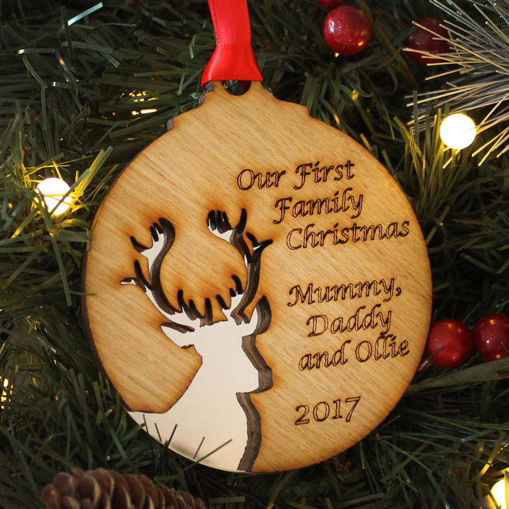 Personalised Our FIRST FAMILY CHRISTMAS, Reindeer Silhouette Xmas Decoration, 1st Family Christmas Bauble, New Baby 1st Christmas Gift