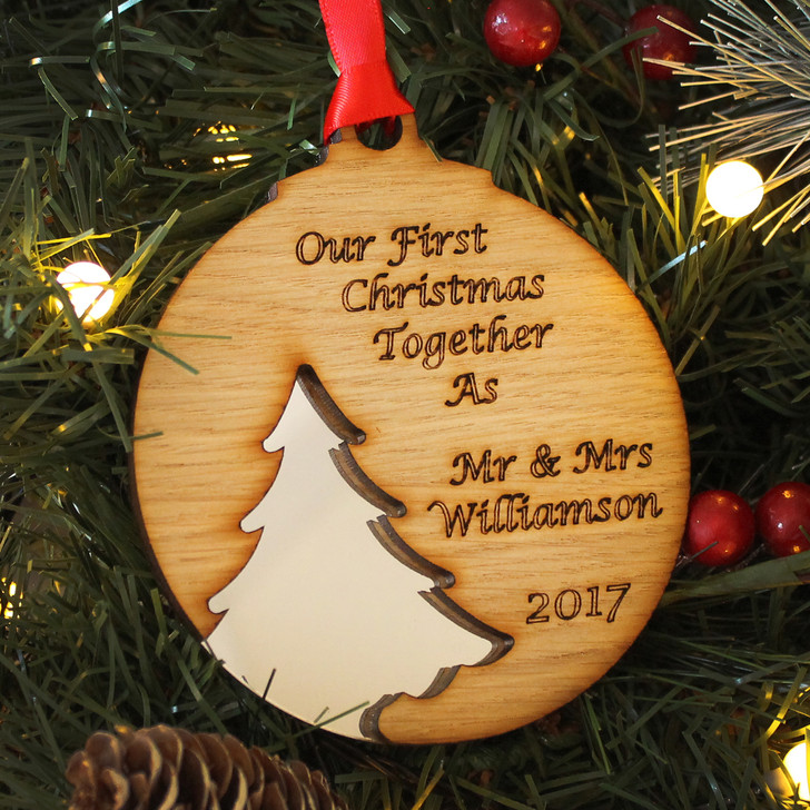 Personalised FIRST CHRISTMAS As Mr & Mrs, Xmas Tree Silhouette Decoration, 1st Christmas Newly Married Bauble, Couples Christmas Gift