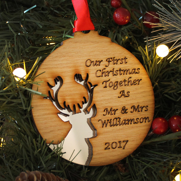 Personalised FIRST CHRISTMAS As Mr & Mrs, Reindeer Silhouette Xmas Decoration, 1st Christmas Newly Married Bauble, Couples Christmas Gift