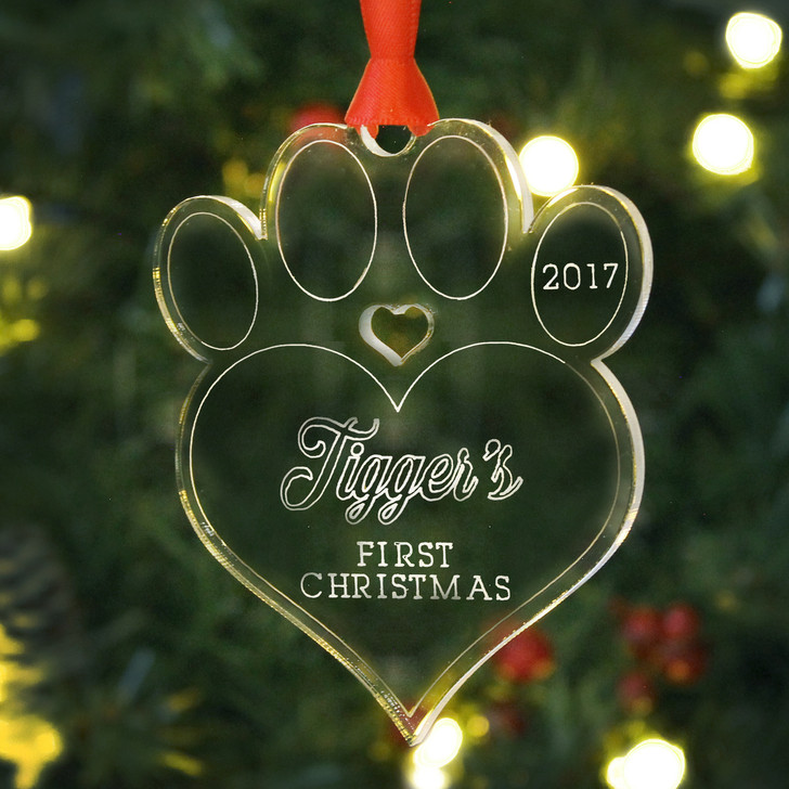 Personalised Kitten Paw Bauble Cat First Christmas Tree Decoration