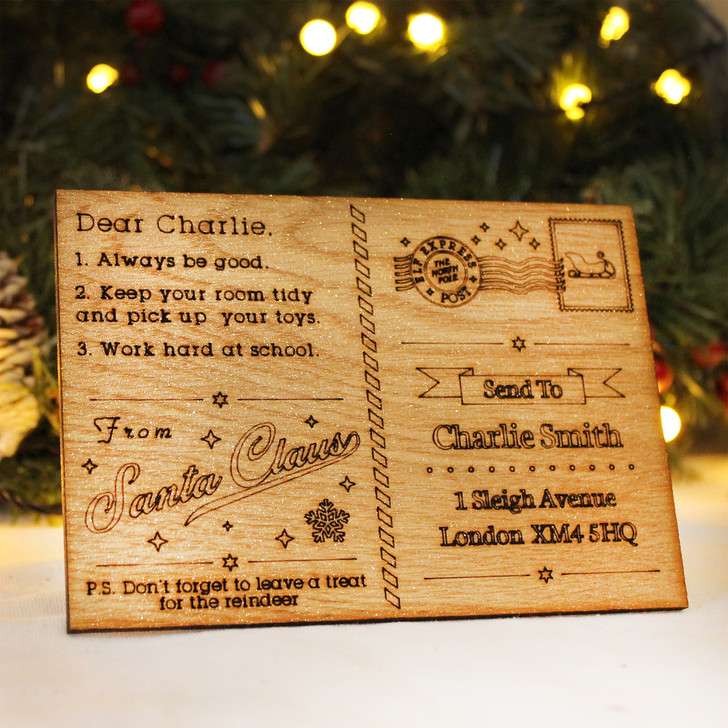 Personalised Wooden Christmas Postcard From Santa - Letter From Santa