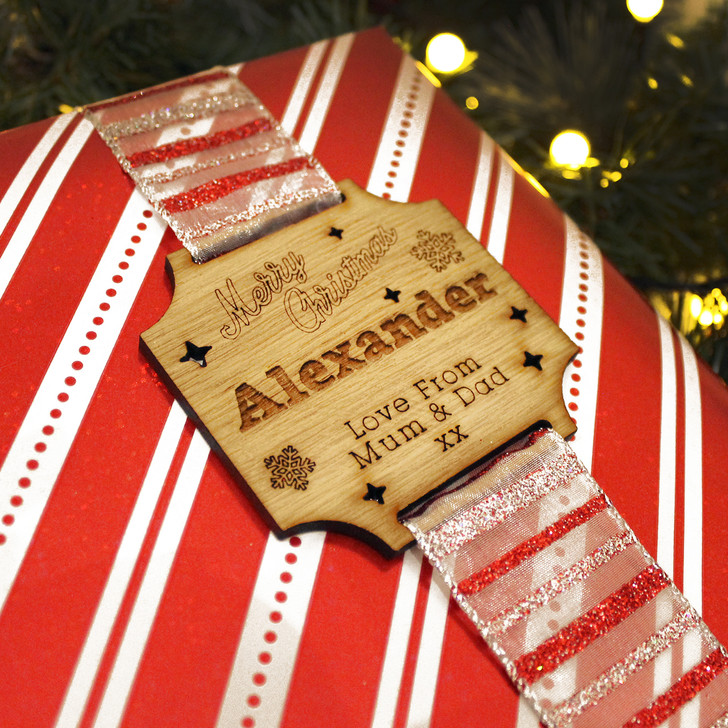 Personalised Christmas Wooden Wrap-Around Gift Tag