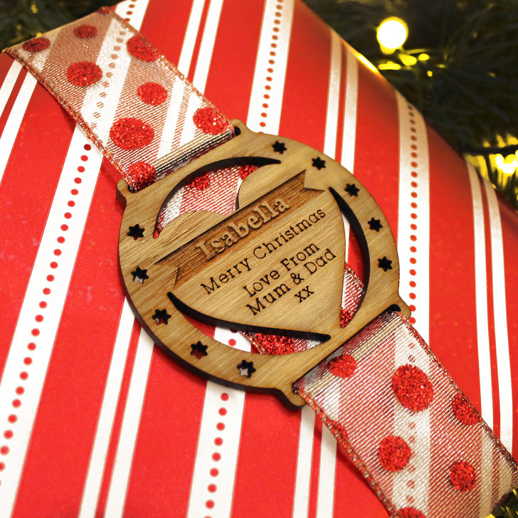 Personalised Christmas Wooden Wrap-Around Heart Gift Tag
