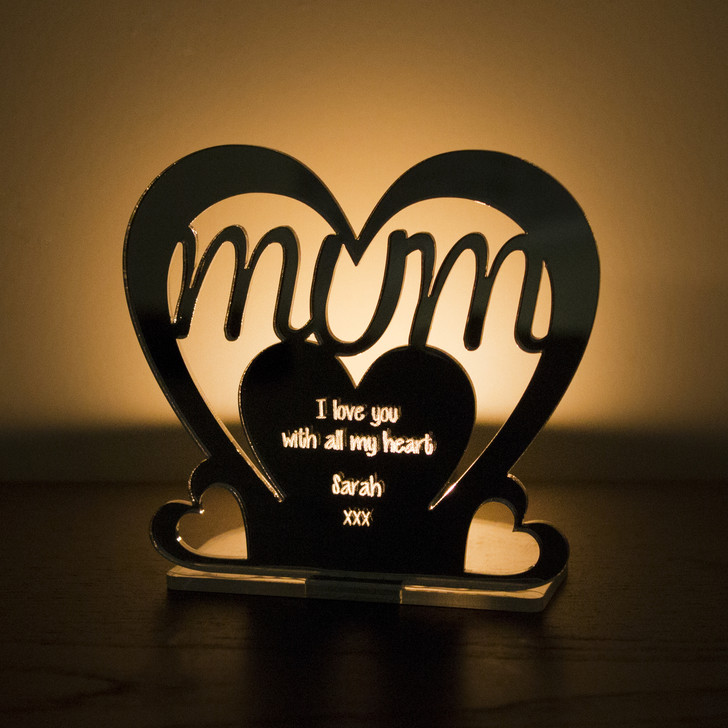 Personalised Tealight Candle Holder, Mum Nanny Auntie Daughter Sister