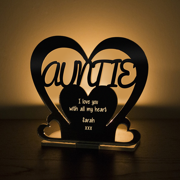 Personalised Tealight Candle Holder For AUNTIE