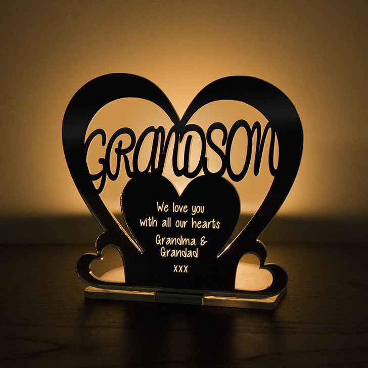 Personalised Tealight Candle Holder For GRANDSON